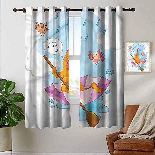 - petpany Light Blocking Curtains Kitten,Cartoon Animal Kids Birds,for Bedroom, Kitchen, Living Room 42