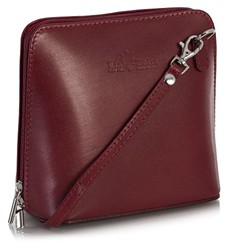 LiaTalia Womens Mini Genuine Italian Leather Cross-Body Handbag with a Dust Protection Bag - Abby Deep - Red Leather Deep Handbag