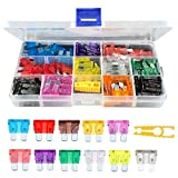 Aorious 110pcs Car Fuses Assorted Car Truck Boat Standard Blade Fuse Set 2A 3A 5A 7.5A 10A 15A 20A 25A 30A 35A 40A Automotive Replacement Fuse with Puller