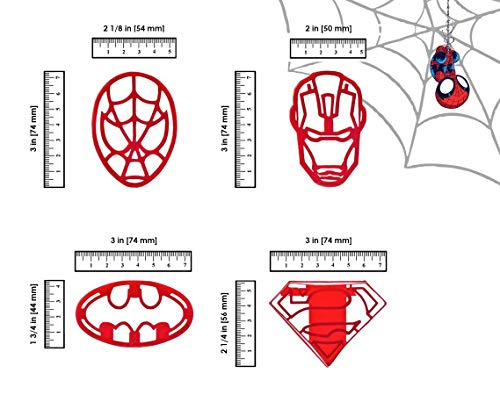 TERS 4 Pieces for Extra Fun Baking – Includes Ironman Superman Spiderman Batman mold. Safe and Plastic. Perfect for Making Cookies, Mini Sandwiches, Shapped Cheese ()