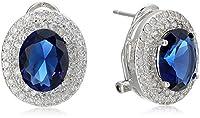 ELYA Jewelry Womens Sterling Silver Oval Cubic Zirconia Double Halo Drop Earrings, White/Blue, One Size