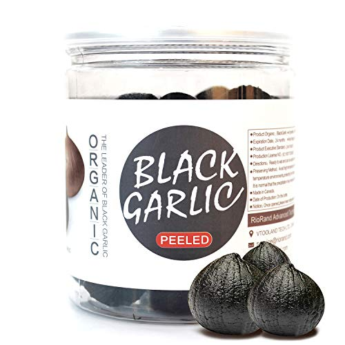 RioRand Organic Black Garlic 454g Whole Peeled Black Garlic Aged for Full 90 Days Black Garlic Jar 1 Pound