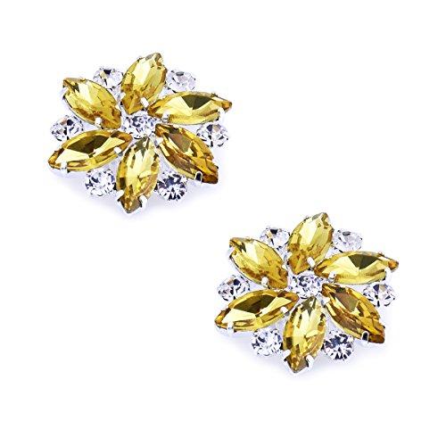 ElegantPark AJ zapatos de boda de vestir Accesorios Cristales Desmontable zapato Clips 2 Pcs Gold