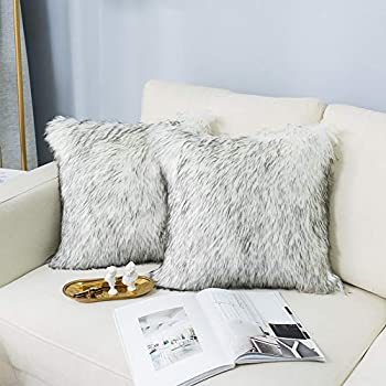 Amazon.com: Faux Fur Pillow Cover Tibetan Sand Fox Ivory ...