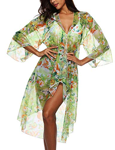 Womens Cover Up Long Sleeve Ethic Print See Through Open Chiffon Kimono Cardigan Green