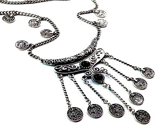 Bohemian Ethnic Tribal Beads Coin Fringe Necklace (Necklace Huntress)