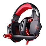 ECOOPRO 3.5mm Over Ear Stereo LED Gaming Headset Headphones Earphone with Microphone, In-line Wheel Control for Volume and Mic Perfect for PC Games and Listening Music Red