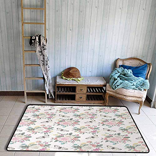 Door Rug for Internal Anti-Slip Rug Shabby Chic Peonies Sweet Peas Roses Bouquet and Butterflies Pastel Tones Bridal Theme Hard and wear Resistant W47 xL71 Soft Pink Green