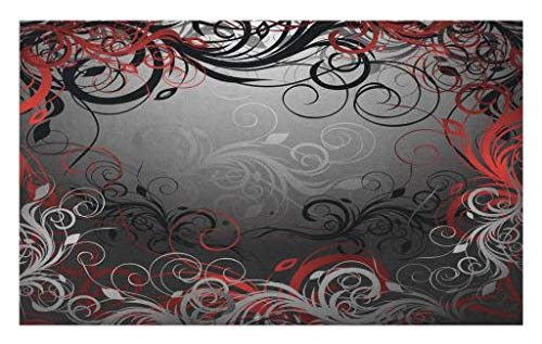 Lunarable Abstract Doormat, Mystic Magical Forest Floral Swirls Leaves Nature Fading Ombre Effect, Decorative Polyester Floor Mat with Non-Skid Backing, 30 W X 18 L Inches, Charcoal Grey