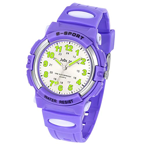 Kids Watch, Child Quartz Wristwatch with for Boys Kids Waterproof Time Teach Watches Rubber Band Analog Quartz Children Sport Outdoor Wrist Watches (Purple)