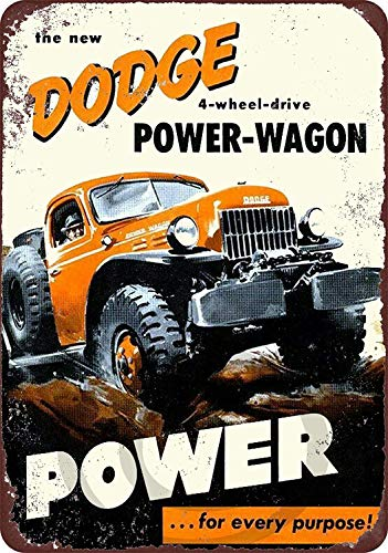 NNHG Tin Sign 8x12 inches Dodge Power-Wagon 4 Wheel Drive Reproduction Metal Sign