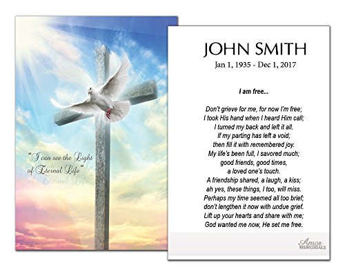 Funeral Memorial Prayer Cards (50 Cards) FPC1210EN Cross and Dove (Custom Printed - Select Desired Prayer) ()