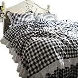 What Are the Dimensions of a California King Size Bed YIH Duvet Cover Set Queen Size 100% Cotton Grey Checked, Ultra Soft Hotel Collection 4 Piece Set with Bed Skirt Pillowcase