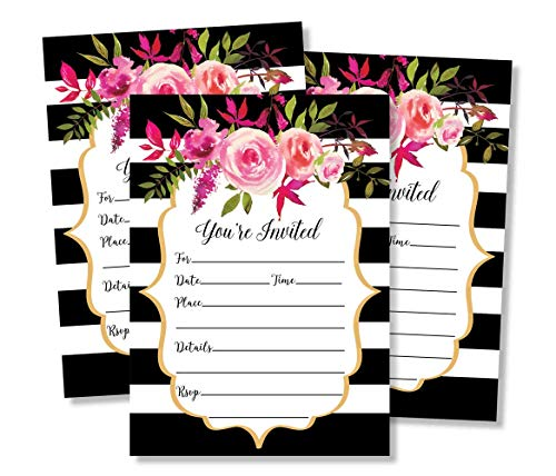50 Watercolor Pink and Black Floral Invitations and Envelopes (Large Size 5x7) - Fill in Invitations, Wedding Invitations, Bridal Shower Invitations, Rehearsal Dinner, Dinner Invitations, Baby Shower