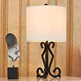 POPILION Iron Bronze Metal Unique Base Livingroom Bedroom Bedside Table Lamp,White Lampshade