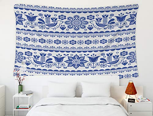 Crannel Christmas Pattern Flowers Birds Nordic Folk Art repetitive Navy Blue Ornament Retro Floral Background Tapestry 60x50 Inches Wall Art Tapestries Hanging for Dorm Room Living Home Decorative