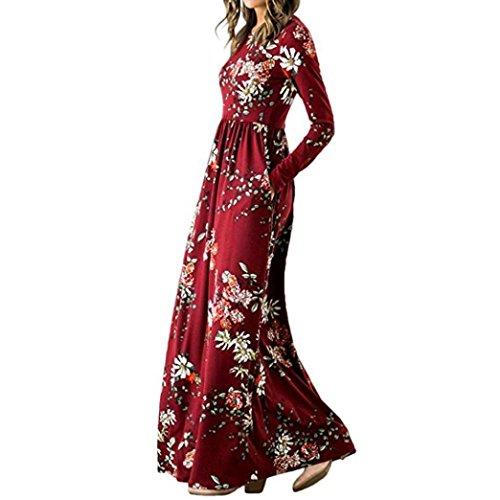 Women's Floral Print Dresses Long Sleeve Pockets Empire Waist Pleated Long Maxi Sunmoot from Sunmoot-Dresses