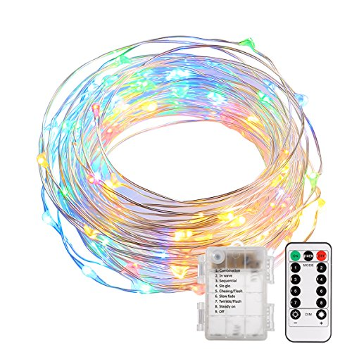 B-right 100LED 34ft Multi-color Dimmable Copper Wire String Lights, IP65 Waterproof, Timer Function, 8 Modes Starry Fairy String Lights Battery Powered with Remote Control