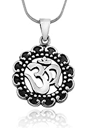 925 Oxidized Sterling Silver Antique Om Hindu Yoga and Lotus Pendant on Alloy Necklace Chain