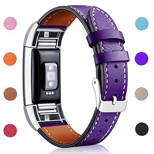 Hotodeal Band Compatible Fitbit Charge 2 Replacement Bands, Classic Genuine Leather Wristband Metal Connectors, Fitness Strap Women Men Small Large Purple