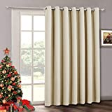 curtains for sliding glass doors Sliding Door Curtain Drapes - Room Darkening Light Blocking Extra Long Wide Solid Panel, Outdoor Indoor Privacy Curtains Window Dressing for Living Room / Patio Door, W 100 x H 84 inch, Cream Beige