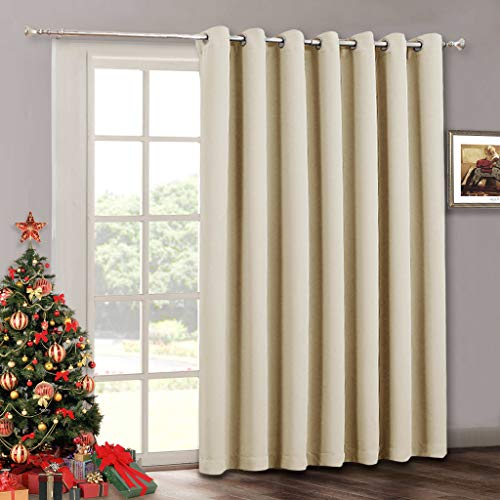 - Sliding Door Curtain Window Drapes - Room Darkening Light Blocking Extra Long Wide Solid Panel, Outdoor Indoor Privacy Curtains for Living Room Bedroom Dining Patio Door, 100 x 84 inch, Cream Beige