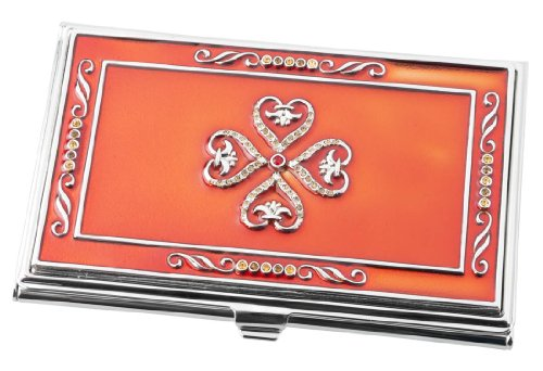 Visol Products Red Lacquer with Embedded Crystals Business Card Holder for - Crystals Case Business Card