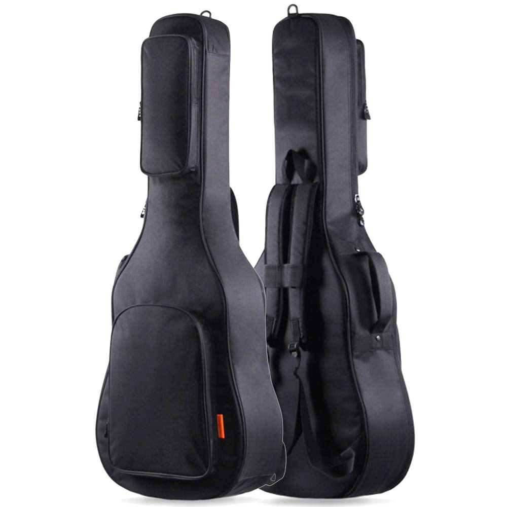 GLEAM Guitar Gig Bag Thicker 0.6 Inch Sponge Padding Fit 41 Inch Acoustic with Two Large Bag - Waterproof
