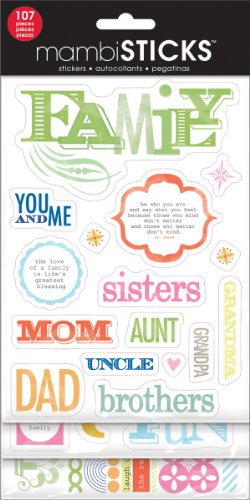 me & my BIG ideas Glitter Sticker Flip Value Pack, Family-You and Me - Family Glitter