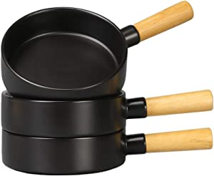 BonNoces 14 Oz Porcelain Soup Bowl, French Onion Bowl with Handle, Unique Matte Glazed Bowl Set for Soup, Salad, Chili, Cereal and Beef Stew, Set of 3 (Matte Black)