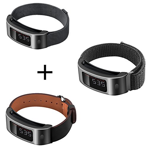 C2D JOY Set of 3 Compatible with Garmin Vivofit and Vivofit 2 Replacement Band with Black Metal Case - Black Metal Weave Band, S + Black Sport Mesh Band, S + Black Leather Band, M