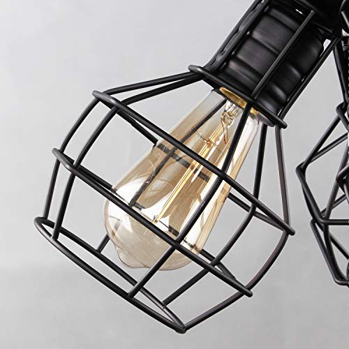 LALUZ 3-Light Wire Cage Ceiling Lighting with Pull String, Industry Close to Ceiling Light Fixture by LALUZ (Image #5)