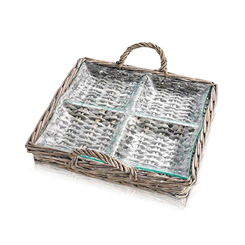 Zeesline 4 Sectional Glass Relish Dish in Wicker Carrying Case - For Veg. Sticks, Dips, Candy, and Berries ()