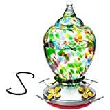 HUMMINGBIRD FEEDER with Perch --- Hand-Blown Glass Feeders | Autumn Impressions | Multi-Color, Premium, Functional | Holds 28 ounces of Nectar | Nature & Bird Lovers | Rave Reviews | 100% MONEY BACK GUARANTEE (by Best Home Products)