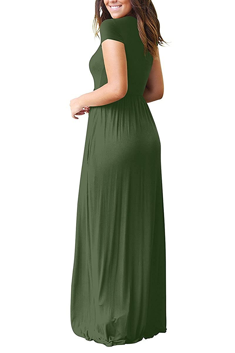 6b8ca6d5c Amazon.com: AUSELILY Women Short Sleeve Loose Plain Long Maxi Casual Dress  with Pockets: Clothing