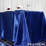 Efavormart 90x156 Rectangle Royal Blue Wholesale Satin Tablecloth Banquet Linen Wedding Party Restaurant Tablecloth