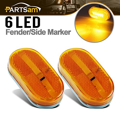 partsam (2) 12V Amber 4 x 2 Bright 6 LED Trailer Marker Lamp Light Side Front Rear Truck RV, Led Trailer Clearance Lights w/Reflex Reflector, Rectangular Rectangle Led Lights