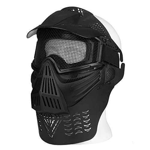 Flexzion Tactical Airsoft Mask Paintball Game Full Face Protection Skull Skeleton Safety Guard in Silver for Outdoor Activity Party Movie Props Fit Most Adult Men Women