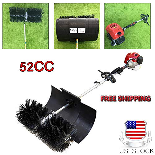 Sweeper Machine, Feiuruhf Hand Held Broom Sweeper 2.3hp Gas Power Snow Sweeper 52CC Concrete Cleaning Machine Brushes Driveway Walkway Behind for Concrete Driveway Lawn Garden Street, USA ()