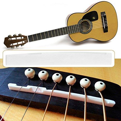 Baynne Buffalo Bone Bridge Saddle Replacement Parts for 6 String Acoustic Guitar