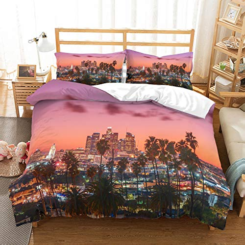 PATATINO MIO Los Angeles Night View Bedding Set Full,3D Printed Trees Gold Glow Night City View of Los Angeles Red/Gold Duvet Cover Set for Adults,3 Piece with 1 Duvet Cover 2 Pillow Sham