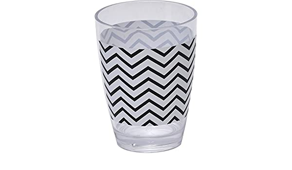 4.13x2.95 Diameter Black and White EVIDECO Bathroom Zigzag Clear Acrylic Printed Bath Tumbler