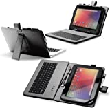 "Fosmon Leather Case with Stand, USB Keyboard and Stylus for 10"" Tablets (10.1"" ePad / aPad, Google Nexus 10, Acer Iconia Tab A200, and More) - Black"