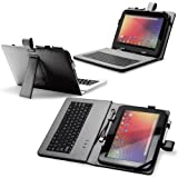 """Fosmon Leather Case with Stand, USB Keyboard and Stylus for 10"""" Tablets (10.1"""" ePad / aPad, Google Nexus 10, Acer Iconia Tab A200, and More) - Black"""
