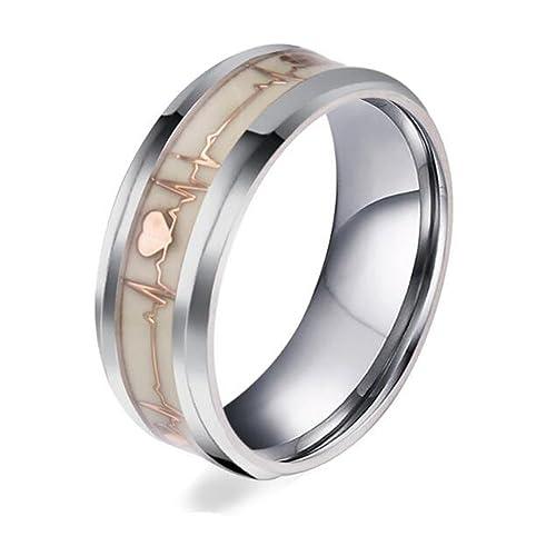 Tinxoo Stainless Steel 8mm Gold Luminous Heartbeat Ring Ekg Carbon