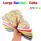 Aobiny Slow Rising Toy, Oversized Rainbow Cake Stress Reliever Scented Super Slow Rising Kids Squeeze Toys (As Shown)