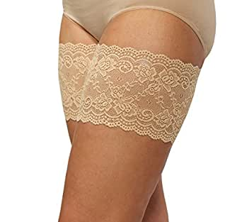 Bandelettes Elastic Anti-Chafing Thigh Bands - Prevent Thigh Chafing - Beige Onyx, Size A