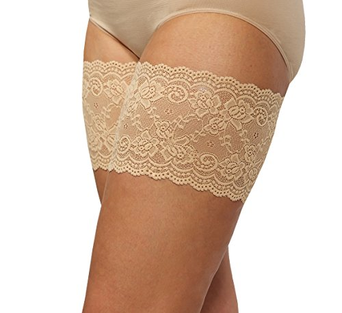 Bandelettes Elastic Anti-Chafing Thigh Bands - Prevent Thigh Chafing - Beige Onyx, Size E