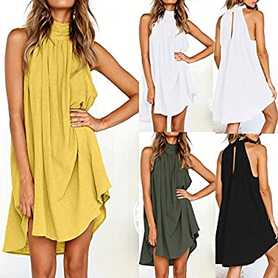 Wensy Womens Holiday Irregular Dress Ladies Summer Beach Sleeveless Party Dress