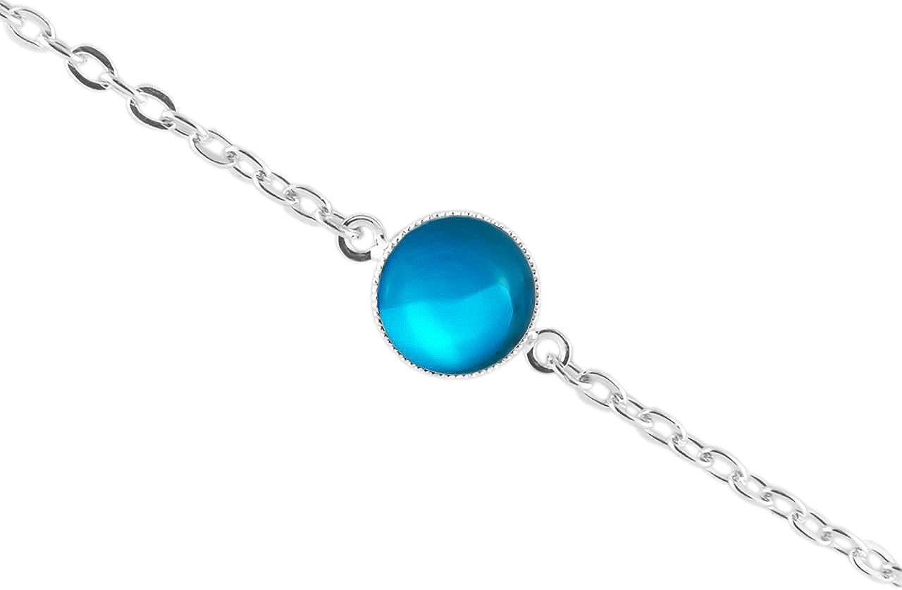 La Plata 925 Plateó la Pulsera de Cadena de 14cm Ronda Minimalista 10mm Cristal Azul turquesa, Cristal checo de Piedra hechos a Mano BohemStyle